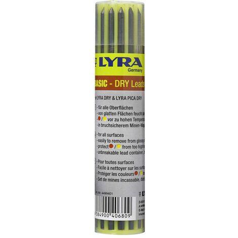 Etui de 12 mines LYRA DRY couleur (6 graphites, 3 rouges, 3 jaunes)