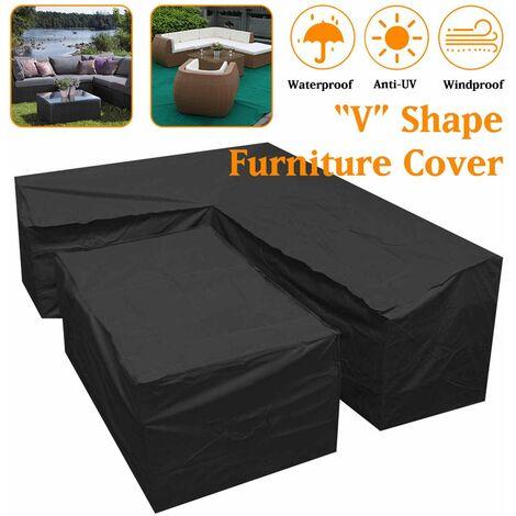 étui de protection de jardin extérieur de crique de meubles de forme de ?V? imperméable (286x286x82)