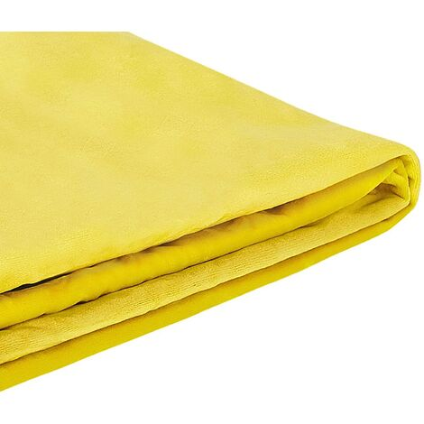 EU King Size 5ft3 Bed Frame Additional Cover Velvet Upholstery Yellow Fitou