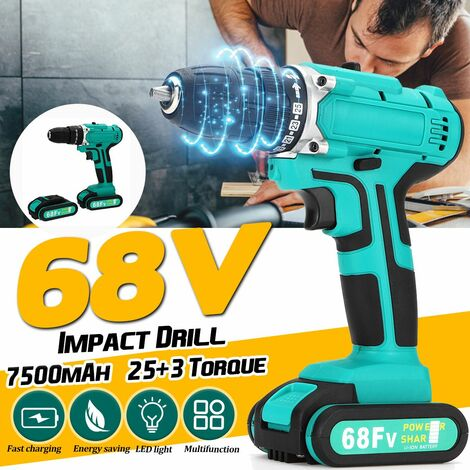 EU Plug 68V Cordless Electric Impact Drill 2 Speed ??Power Battery Driver Kit Repair Tool Double Speed ??(EU Two Speed ??Two Speed ??Battery)