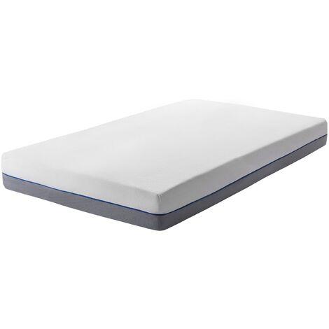 EU Single Mattress 3ft White Grey Foam Filling Polyester Cover Glee