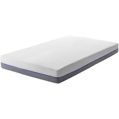 EU Small Single Mattress 2ft6 White Grey Foam Filling Polyester Cover Glee