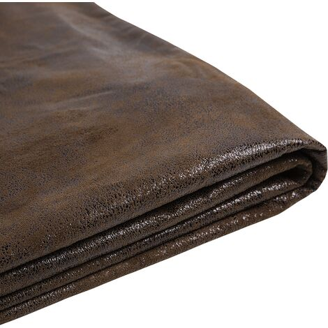 EU Super King 6ft Bed Frame Additional Cover Faux Leather Fabric Brown Fitou