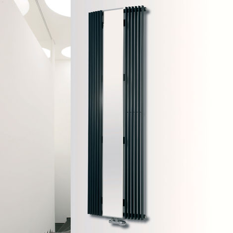 Eucotherm Corus Curved Mirror Anthracite Vertical Designer Radiator 1800mm x 600mm Single Panel
