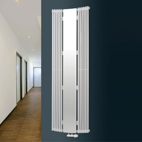 Eucotherm Corus Curved Mirror White Vertical Designer Radiators 1800mm x 600mm Single Panel