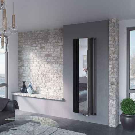 Eucotherm Corus Mirror Anthracite Vertical Designer Radiators 1800mm x 600mm Single Panel