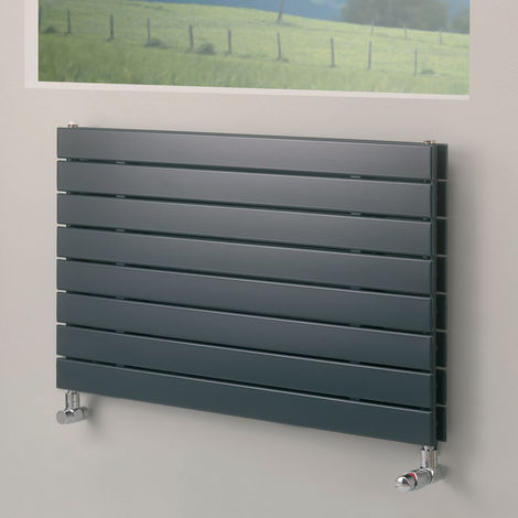 Eucotherm Mars Duo Horizontal Double Flat Panel Designer Radiator, Anthracite - 595mm x 900mm