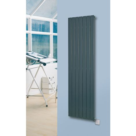 Eucotherm Mars Electro Flat Single Panel Vertical Designer Radiator Anthracite 900mm X 370mm - Electric Only
