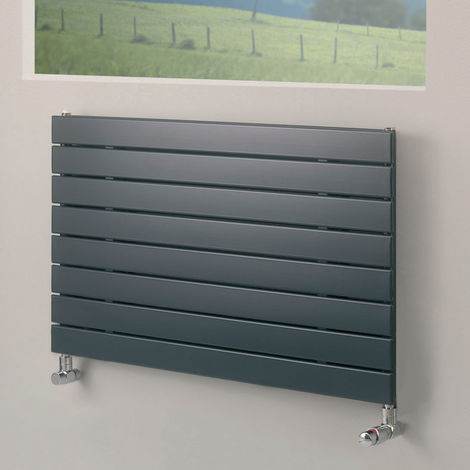 Eucotherm Mars Horizontal Single Flat Panel Designer Radiator, Anthracite - 445mm x 600mm