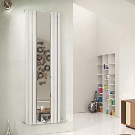 Eucotherm Nova Mirror Duo Tube Double Panel Vertical Designer Radiator Textured Matt Anthracite 1800mm X 584mm