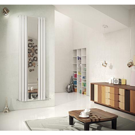 Eucotherm Nova Mirror Tube Single Panel Vertical Designer Radiator White 1800mm X 584mm