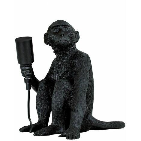 EURO Albert Monkey Holding a Light Bulb Table Lamp Black