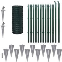 Euro Fence Set with Ground Spikes 25x1 m Steel Green