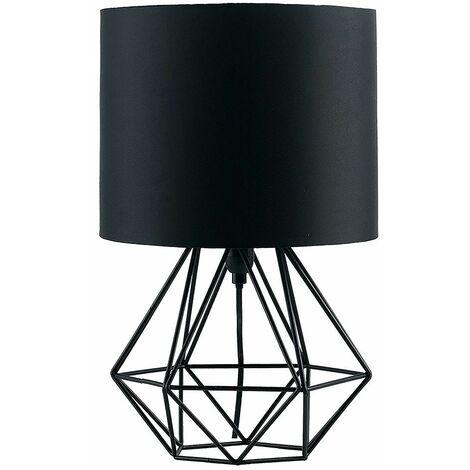 Euro Plug Angus Geometric Satin Black Base Table Lamp Black