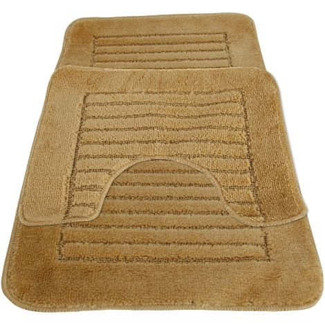 Eurobano Feel The Difference Bath And Pedestal Mat Set (50 x 80cm) (Beige)