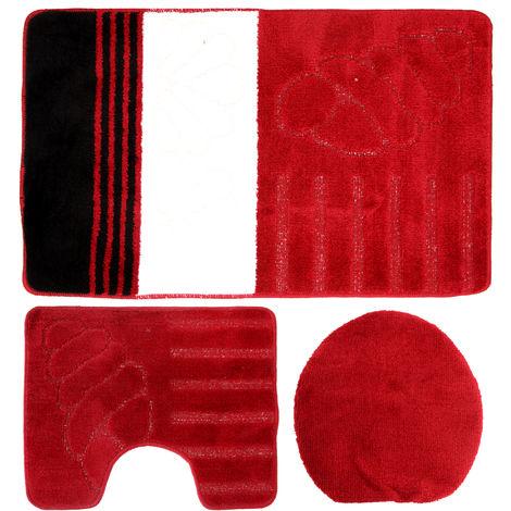 Eurobano Three Piece Shell Bathroom Set (60x100cm) (Red/White/Black)