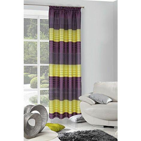 Eurofirany zAS/motifs fIOL zI/t/rideau motifs rayé avec galon fronceur naturel 140 x 250 cm violet/vert