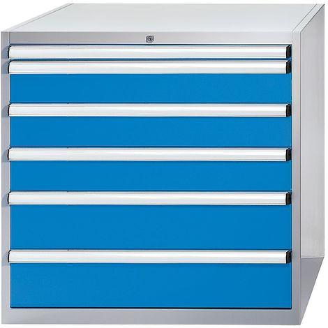 EUROKRAFT Armoire à tiroirs - h x l x p 1000 x 1023 x 725 mm - tiroirs 1 x 50, 3 x 150, 2 x 200 mm - Coloris tiroirs: Bleu clair RAL 5012