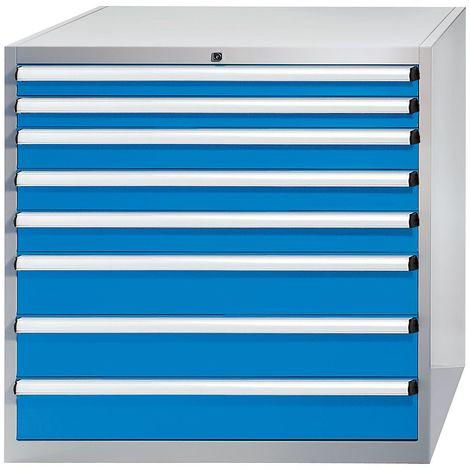 EUROKRAFT Armoire à tiroirs - h x l x p 1000 x 1023 x 725 mm - tiroirs 2 x 75, 3 x 100, 3 x 150 mm - Coloris tiroirs: Bleu clair RAL 5012