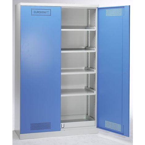 EUROKRAFT Armoire de sécurité - armoire pour produits chimiques et toxiques - h x l x p 1950 x 1200 x 500 mm - Coloris corps: gris clair