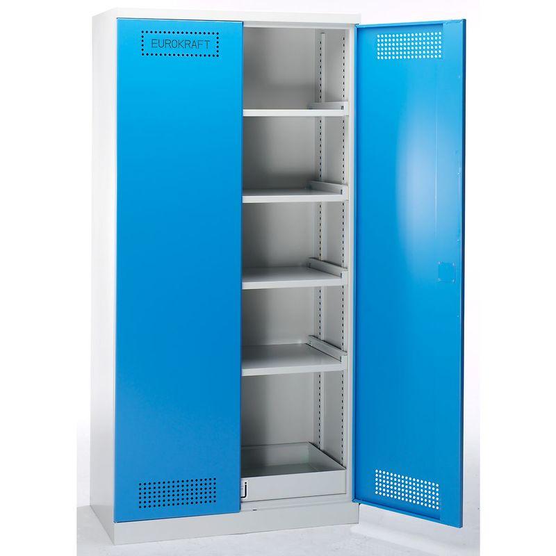 EUROKRAFT Armoire de sécurité - armoire pour produits chimiques et toxiques - h x l x p 1950 x 950 x 500 mm - Coloris corps: gris clair