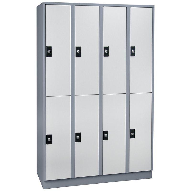 Wolf Armoire à casiers verrouillables, hauteur compartiments 820 mm - 8 casiers, largeur 1200 mm - gris argent / gris - Coloris corps: gris argent