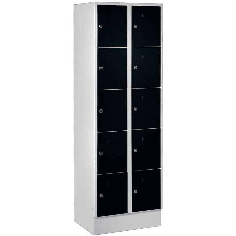 Certeo - Wolf Vestiaire modulaire à casiers verrouillables - 10 casiers, largeur 300 mm - noir profond / gris clair - Coloris des portes: noir