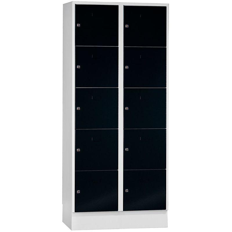 Certeo - Wolf Vestiaire modulaire à casiers verrouillables - 10 casiers, largeur 400 mm - noir profond / gris clair - Coloris des portes: noir