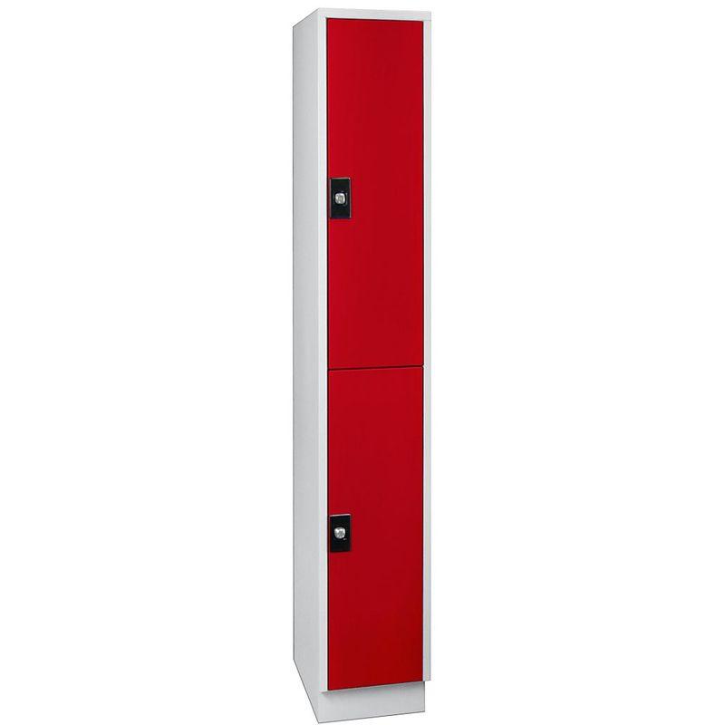 Certeo - Wolf Armoire à casiers verrouillables, hauteur compartiments 820 mm - 2 casiers, largeur 300 mm - gris clair / rouge feu - Coloris corps: