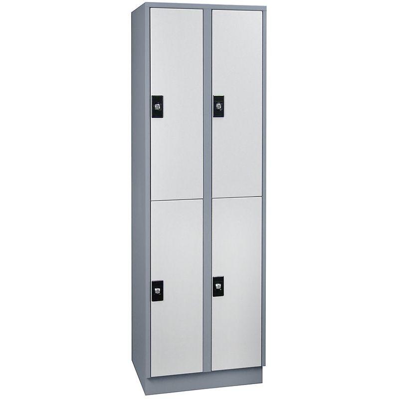 Wolf Armoire à casiers verrouillables, hauteur compartiments 820 mm - 4 casiers, largeur 600 mm - gris argent / gris - Coloris corps: gris argent RAL