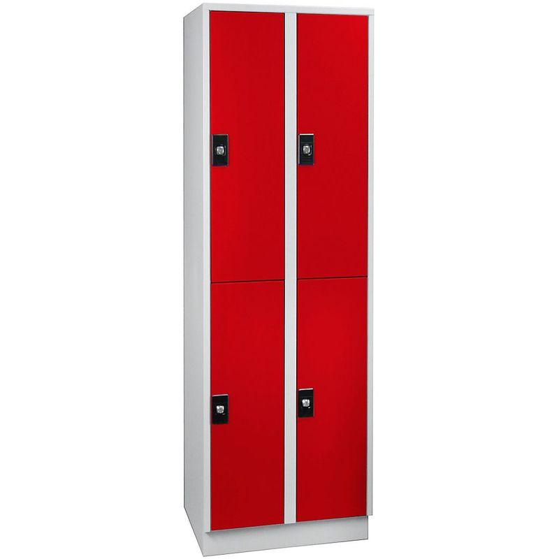 Certeo - Wolf Armoire à casiers verrouillables, hauteur compartiments 820 mm - 4 casiers, largeur 600 mm - gris clair / rouge feu - Coloris corps: