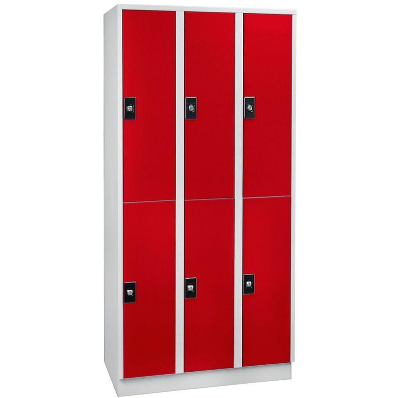 Certeo - Wolf Armoire à casiers verrouillables, hauteur compartiments 820 mm - 6 casiers, largeur 900 mm - gris clair / rouge feu - Coloris corps:
