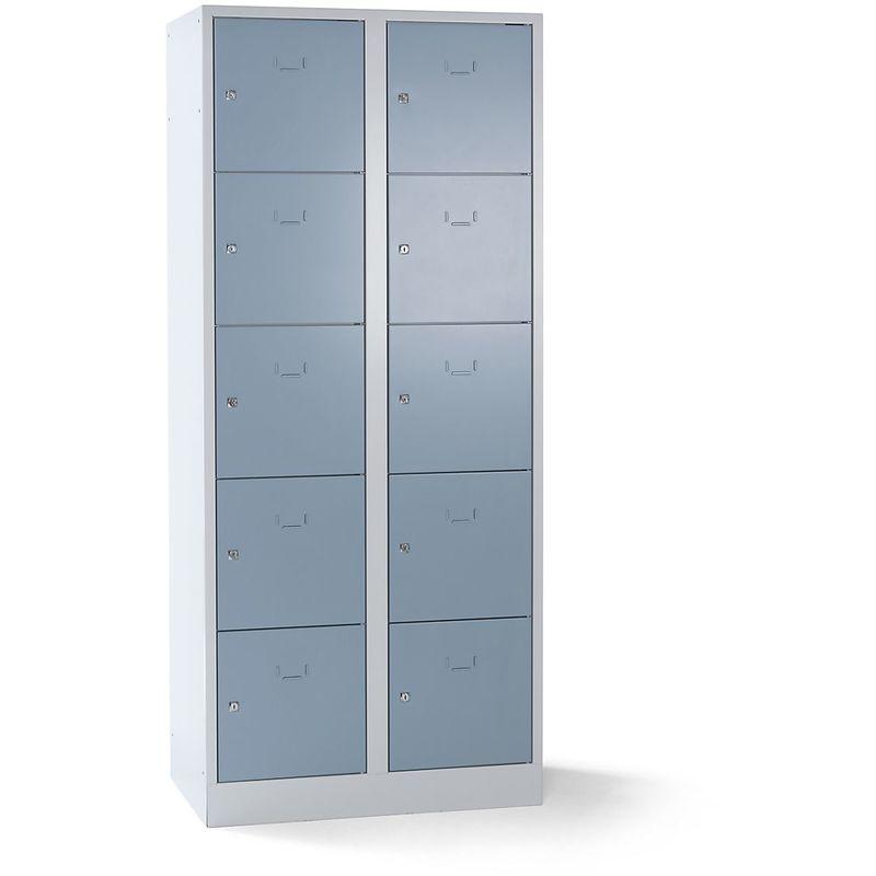Wolf Vestiaire modulaire à casiers verrouillables - 10 casiers, largeur 400 mm - gris argent / gris clair - Coloris des portes: gris argent RAL 7001