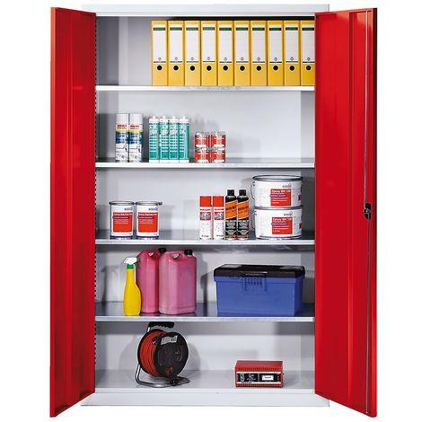 EUROKRAFT Armoire grande capacité en tôle d'acier - avec 4 tablettes, sans bacs à bec - corps gris clair, portes rouge