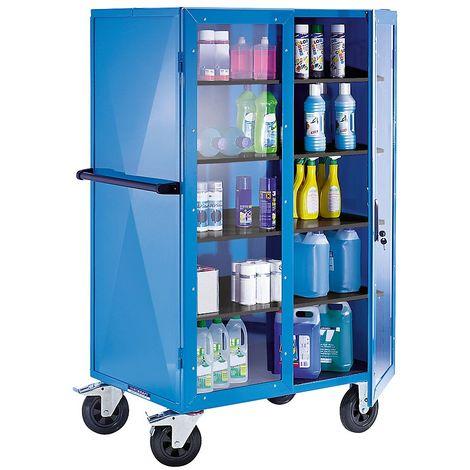 EUROKRAFT Armoire roulante, L x l x h 1050 x 740 x 1785 mm - portes battantes en macrolon® - force 500 kg - Coloris piétement: bleu fluo
