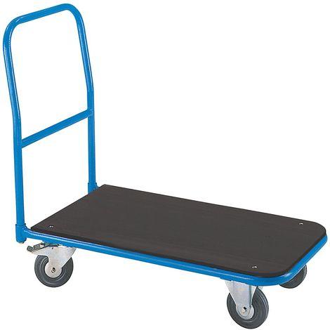 EUROKRAFT Chariot plate-forme de magasin - avec barre de poussée à visser - plate-forme en MDF