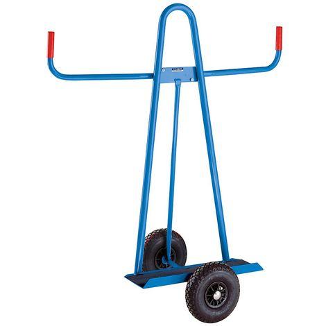 EUROKRAFT Chariot porte-panneaux - charge max. 300 kg - pneumatiques, Ø roues 260 mm - Coloris: Bleu clair RAL 5012