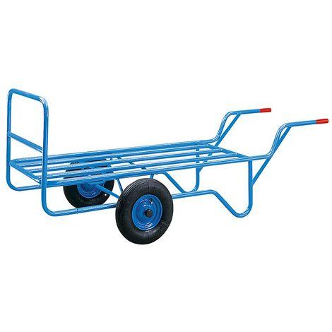 EUROKRAFT Charrette à plateau tubulaire - plate-forme 1500 x 690 mm - charge max. 400 kg - Coloris: Bleu