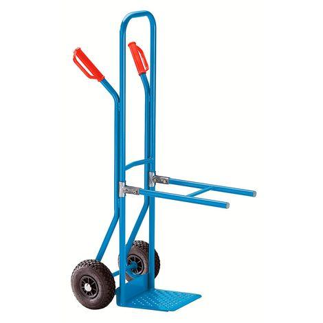EUROKRAFT Diable à bras-supports en acier à bavette fixe - force 75 kg - pneumatiques - Coloris: Bleu clair RAL 5012