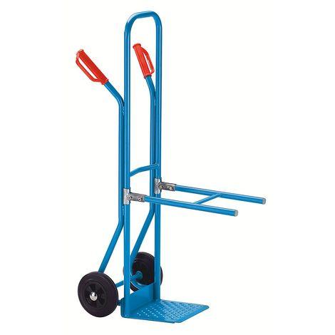 EUROKRAFT Diable à bras-supports en acier à bavette fixe - force 75 kg - roues à bandage caoutchouc - Coloris: Bleu clair RAL 5012