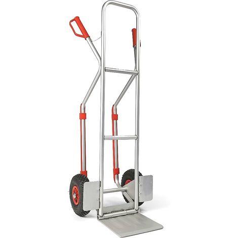 EUROKRAFT Diable polyvalent en aluminium - avec patins et bec rabattable - charge max. 200 kg - Coloris: Argent alu