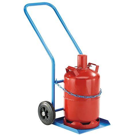 EUROKRAFT Diable pour 1 bouteille en acier - pour capacité bouteille 27 / 40 l - roues à bandage caoutchouc - Coloris piétement: bleu fluo