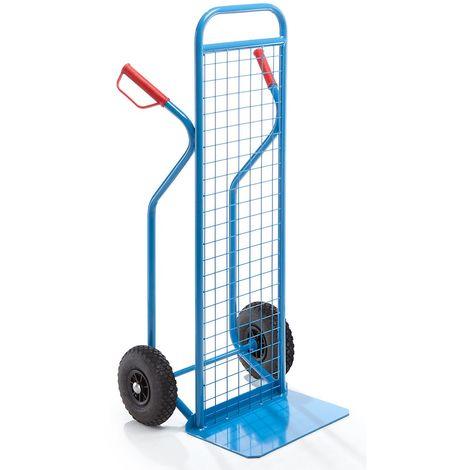 EUROKRAFT Diable version grillagée - charge max. 350 kg - avec roues à bandage caoutchouc - Coloris: Bleu clair RAL 5012