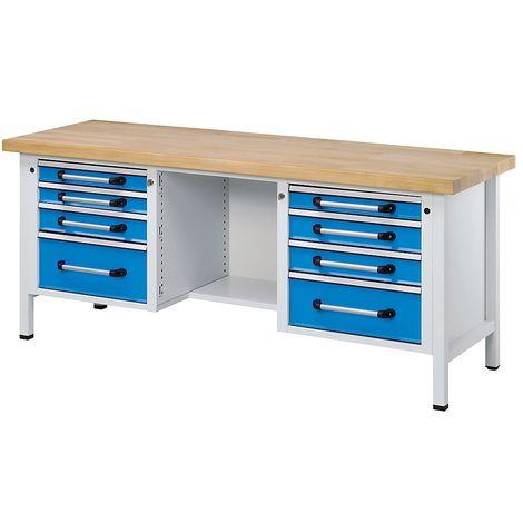EUROKRAFT Etabli en tôle d'acier - largeur 2000 mm, 8 tiroirs - hêtre massif - Coloris façade: Bleu clair RAL 5012