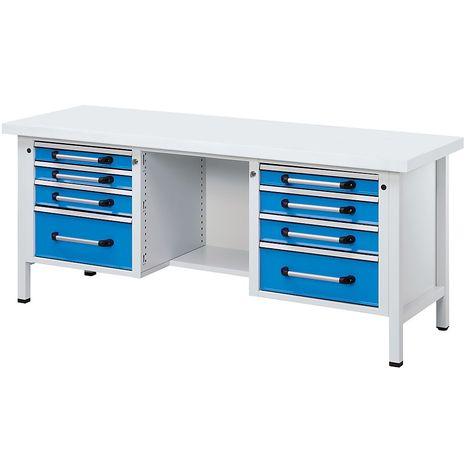 EUROKRAFT Etabli en tôle d'acier - largeur 2000 mm, 8 tiroirs - plateau universel - Coloris façade: Bleu clair RAL 5012