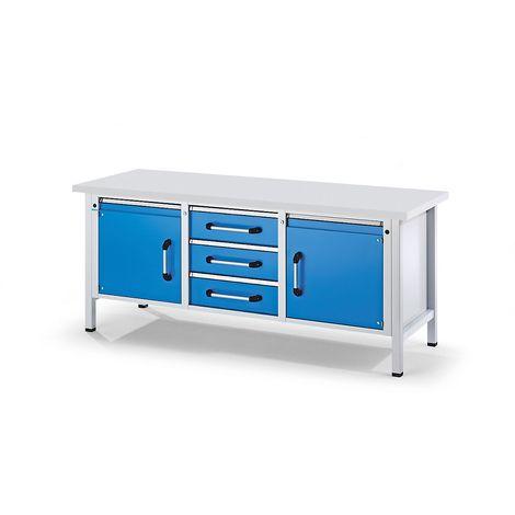 EUROKRAFT Etabli mobile, 1 tiroir, 1 porte, tablette, abaissable largeur 1500 mm - Coloris façade: Bleu clair RAL 5012