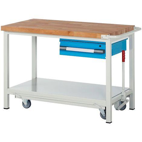 EUROKRAFT Etabli mobile, 1 tiroir suspendu, tablette, abaissable largeur 1250 mm - Coloris façade: Bleu clair RAL 5012