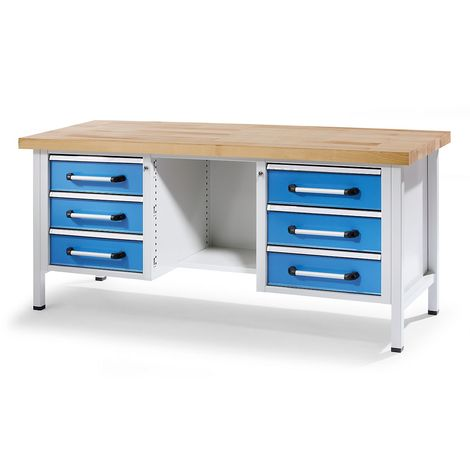 EUROKRAFT Etabli mobile, 2 tiroirs, 2 portes, abaissable largeur 1250 mm - Coloris façade: Bleu clair RAL 5012
