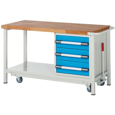EUROKRAFT Etabli mobile, 3 tiroirs, tablette, abaissable largeur 2000 mm - Coloris façade: Bleu clair RAL 5012