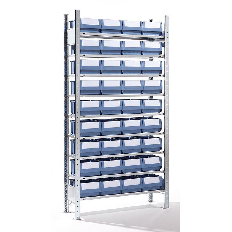 EUROKRAFT Rayonnage emboîtable avec bacs - 36 bacs, 9 tablettes, profondeur 336 mm - rayonnage de base